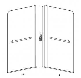 Штора на ванну 80*150, стекло тонированное, правая, 599-02R grey