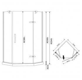 Душевая кабина Eger Stefani 100х100х194, с мелким поддоном стекло прозрачное, 599-535-100