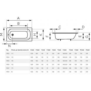 Ванна эмалированная FERRO 170x70 (FWS7)