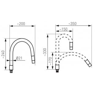 Гибкий излив для кухонного смесителя FERRO ELASTICO (W100W-B) белый