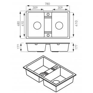 Кухонная мойка FERRO MEZZO II (DRGM2/48/78BA) графит