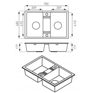 Кухонная мойка FERRO MEZZO II (DRGM2/48/78HA) графит shine