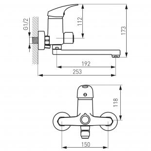 Смеситель для ванны FERRO ONE (BFO33A) с гарнитуром