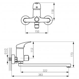 Смеситель для ванны FERRO ONE (BFO5A)