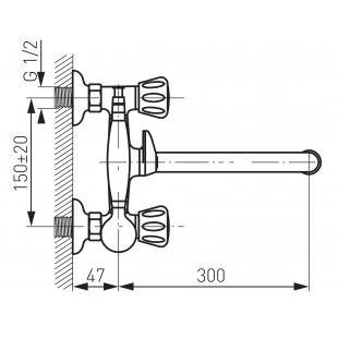 Смеситель для ванны FERRO STANDARD (BST11A) с гарнитуром