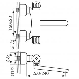 Смеситель кухонный FERRO (TA5) с термостатом