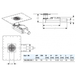 Трап для душа Geberit CleanLine с решёткой 8x8 см, высота пола от 90 мм, d50мм, 154.050.00.1