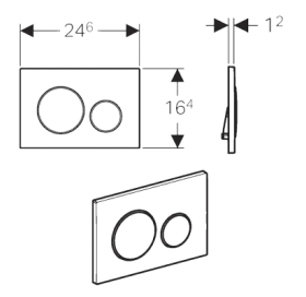 Кнопка смыва Geberit SIGMA 20, двойной смыв, пластик, белый/хром глянцевый/белый