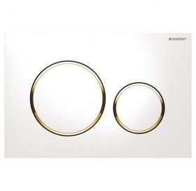Кнопка смыва Geberit SIGMA 20, двойной смыв, пластик, белый/золотой/белый 115.882.KK.1
