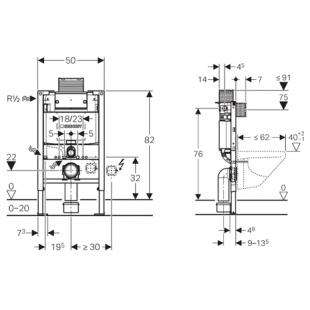 """Инсталляционная система Geberit Duofix со встроенным бачком """"Omega"""" 12 см, с фронтальным и"""
