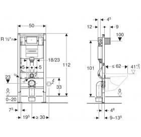 """Инсталляционная система Geberit Duofix со встроенным бачком """"Omega"""" 12 см, с фронтальным у"""