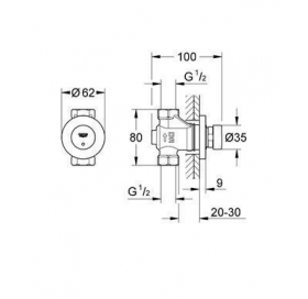 """Автоматический проходной вентиль 1/2"""" Grohe EUROECO Cosmopolitan T хром, 36268000"""
