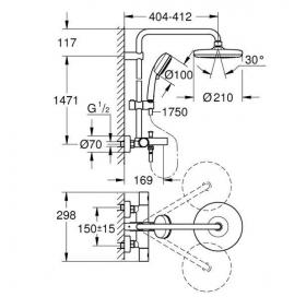 Душевая система с термостатом для ванны Grohe New Tempesta Cosmopolitan 210, 26223001