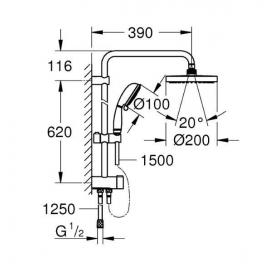 Душевой гарнитур с переключателем Grohe New Tempesta Rustic System 200, 27399002