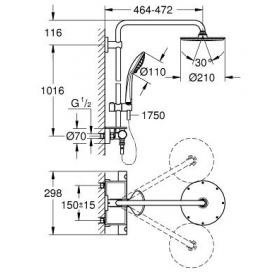 Душевая система с термостатом GROHE Euphoria XXL System 210, 26363000