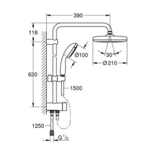 Душевой гарнитур с переключателем Grohe New Tempesta System 210, 26381001