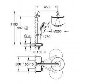 Душевая система с термостатом  Grohe Euphoria SmartControl System 260 Mono, 26509000