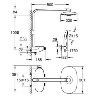 Душевая система с термостатом  Grohe Rainshower SmartControl 360 DUO, 26250000