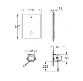 Инфракрасная панель смыва для подвесного унитаза Grohe Tectron Skate 38393SD1
