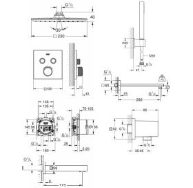 Комплект скрытого монтажа для ванны и душа Grohe Grohtherm SmartControl, 34506SC2