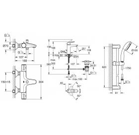 Набор смесителей для ванной GROHE BauLoop + Grohtherm 34550TM