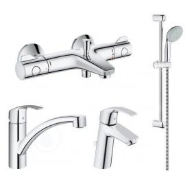 Комплект смесителей: Grohtherm 800 для ванны + Eurosmart для раковины +  кухнный смеситель + Душевой