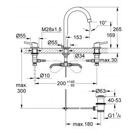 Смеситель для раковины на три отверстия, DN 15 L-Size Grohe CONCETTO, хром, 20216001