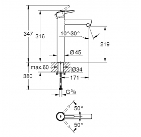 Смеситель однорычажный для раковины Grohe Concetto XL-SIZE 23920001