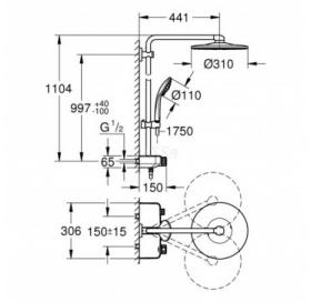 Душевая система с термостатом Grohe Euphoria SmartControl System 310 DUO, 26507000