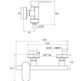 Смеситель для душа без лейки 150 мм Ravak Chrome CR 032.00/150, X070043