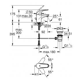 Смеситель для раковины GROHE Euroeco 23262000 S-Size