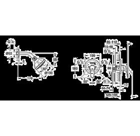 Набор: скрытого монтажа EuroEco смеситель + Tempesta верхний душ, 26000004