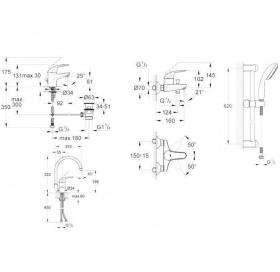 Набор смесителей GROHE Euroeco 123242K + кухонный смеситель (23262000 + 32743000 + 27598000 + 327520