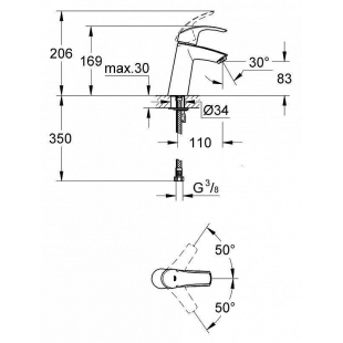 Смеситель для раковины Grohe Eurosmart 23324001 M-Size