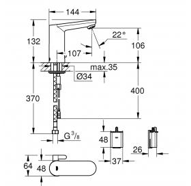 Инфракрасная электроника для раковины 1/2 Eurosmart Cosmopolitan E, 36327001