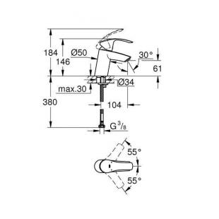 Смеситель для раковины Grohe Eurosmart 32467002 S-Size