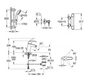 Комплект: Grohtherm 1000 c душевым гарнитуром + Eurosmart для раковины, 341233