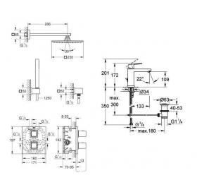 Комплект: Grohtherm Cube для душа скрытого монтажа + Eurocube  для умывальника, 345234
