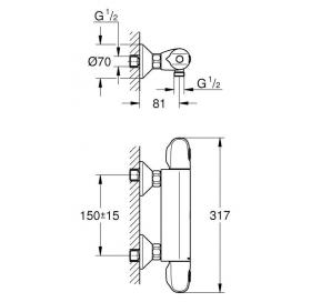 Смеситель-термостат для душа, Grohe GROHTHERM 1000, 34143003