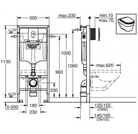 ❤  Инсталляционная система GROHE Rapid SL 4в1 с клавишей Arena Cosmopolitan, 38929000