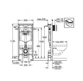 Инсталляционная система Grohe Rapid SL 5 в 1 для подвесного унитаза, 38827000
