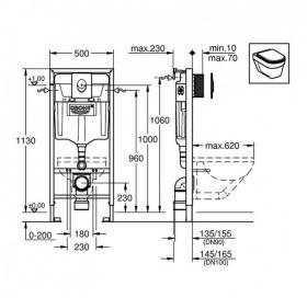 Комплект: Инсталляционная система Grohe Rapid SL+ подвесной унитаз V&B O.Novo с крышкой, 387260H