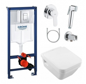 Комплект: Инсталляционная система Grohe Rapid SL + подвесной унитаз V&B Architectura без ободка