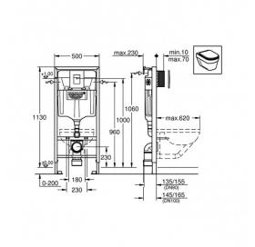Комплект: Инсталляционная система Grohe Rapid SL + подвесной унитаз Duravit D - code с крышкой + наб