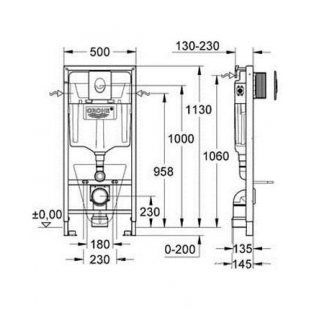 Комплект: инсталляция Grohe Rapid SL + подвесной унитаз Euro Ceramic (39328CB0)