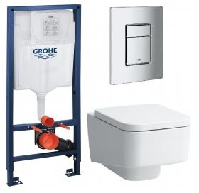 Комплект: Инсталляционная система Grohe Rapid SL + подвесной унитаз Laufen Pro S с крышкой, 38772001