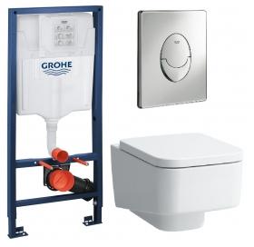 Комплект: Инсталляционная система Grohe Rapid SL + подвесной унитаз Laufen Pro S с крышкой, 38721001