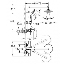 Душевая система с термостатом GROHE Euphoria System 180, 27475000