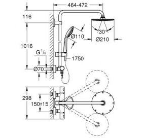 Душевая система с термостатом GROHE Euphoria XXL System 210, 27964000