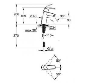 Смеситель однорычажный для раковины с цепочкой Grohe Eurosmart, M-Size , 23323001